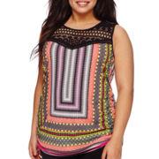 Bisou® Sleeveless Crochet Knit Top - Plus