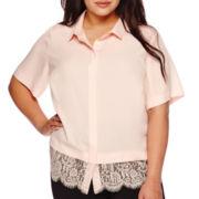 Boutique+™ Short-Sleeve Button-Front Lace Trim Box Shirt - Plus