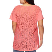 Boutique+™ Short-Sleeve Lace Tee - Plus