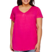 Boutique+ Double V-Neck Basic Tee - Plus