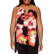 Worthington® Sleeveless Keyhole Asymmetrical Blouse - Plus