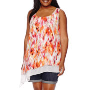 a.n.a® Scoopneck Asymmetrical Tank Top - Plus