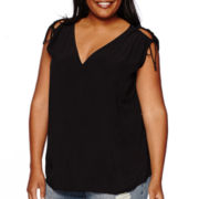 a.n.a® Sleeveless Tie Cold Shoulder Blouse - Plus