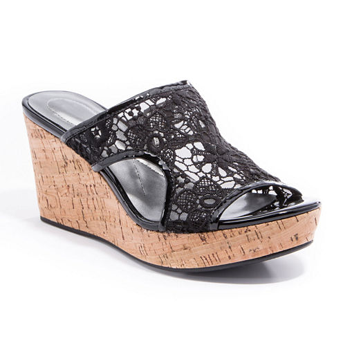 Andrew Geller Danika Slip-On Wedge Sandals