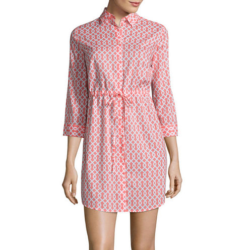 St. John's Bay Long Sleeve Shirt Dress-Talls