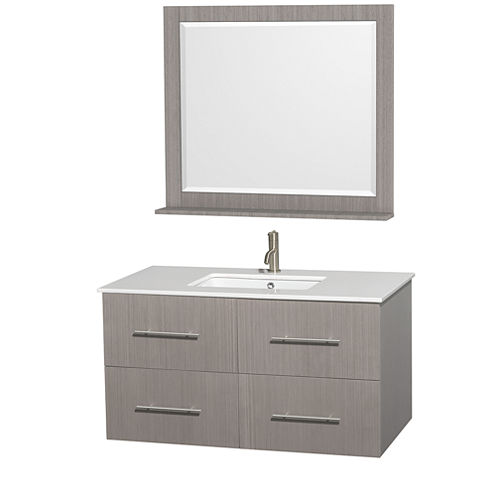 Centra 42 inch Single Bathroom Vanity; White Man-Made Stone Countertop; Undermount Square Sink; and36 inch Mirror