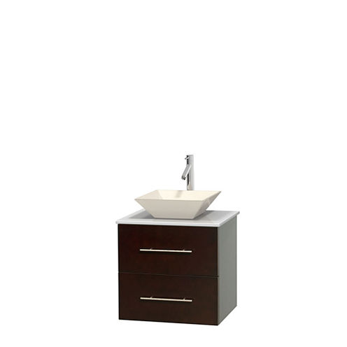 Centra 24 inch Single Bathroom Vanity; White Man-Made Stone Countertop; Pyra Bone Porcelain Sink; and No Mirror