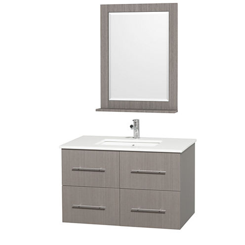 Centra 36 inch Single Bathroom Vanity; White Man-Made Stone Countertop; Square Porcelain UndermountSink; and 24 inch Mirror