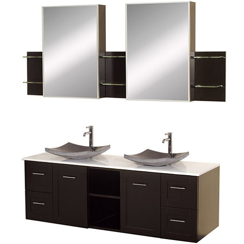 Avara 60 inch Double Bathroom Vanity with White Man-Made Stone Countertop, Sinks and Medicine Cabinets
