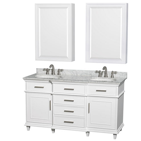 Berkeley 60 inch Double Bathroom Vanity; White Carrera Marble Countertop; Undermount Round Sinks; 24inch Medicine Cabinets