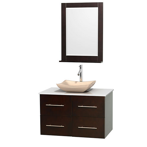 Centra 36 inch Single Bathroom Vanity; White Man-Made Stone Countertop; Avalon Ivory Marble Sink; and 24 inch Mirror