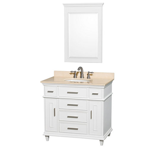 Berkeley 36 inch Single Bathroom Vanity; Ivory Marble Top with White Undermount Oval Sink and 24 inch Mirror