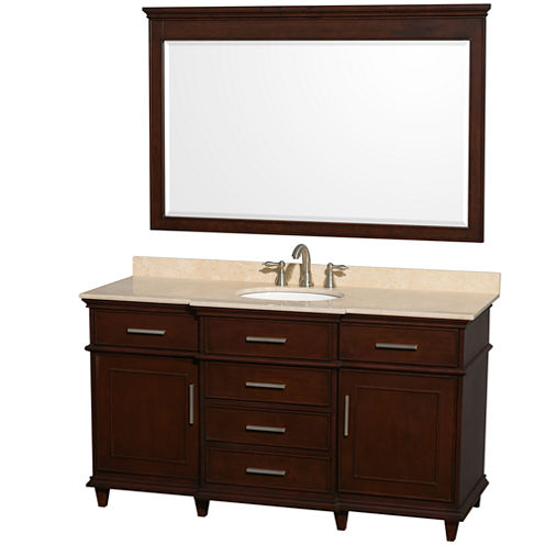 Berkeley 60 inch Single Bathroom Vanity; Ivory Marble Top with White Undermount Oval Sink and 56 inch Mirror