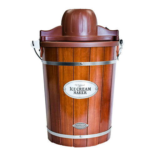 Nostalgia ICMP600WD Vintage Collection 6-Quart Wood Bucket Electric Ice Cream Maker with Easy-CleanLiner