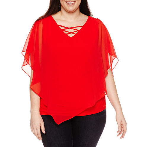 Alyx Short Sleeve Laceup Woven Overlay Blouse-Plus