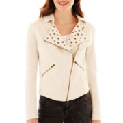 MNG by Mango® Studded Knit Motorcycle Jacket