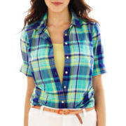 jcp™ Plaid Button-Front Shirt - Petite