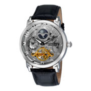 Stührling® Mens Silver-Tone Dual-Time Skeleton Automatic Watch