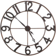 Antiqued Gold-Tone Metal Wall Clock