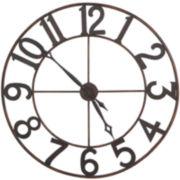 Antiqued Gold-Tone Metal Wall Clock