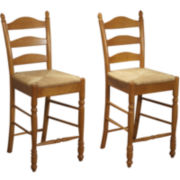 "Set of 2 Ladderback 24"" Stools"