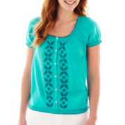 St. John's Bay® Short-Sleeve Smocked Peasant Top - Tall