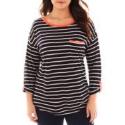 a.n.a® Striped Knit Tee - Plus