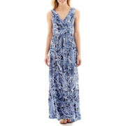 St. John's Bay® Sleeveless Floral Print Tiered Maxi Dress