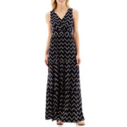 St. John's Bay® Sleeveless Chevron Print Tiered Maxi Dress