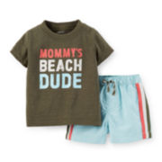 Carter's® Tee and Swim Trunk Set – Baby Boys newborn-24m