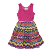 Rare Editions Chevron and Lace Dress – Toddler Girls 2t-4t