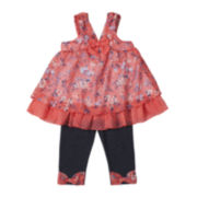 Little Lass Floral Top and Jeggings - Toddler Girls 2t-4t
