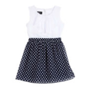 by&by Girl Polka Dot Bow Dress - Preschool Girls 4-6x