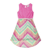 Rare Editions High-Low Chevron Dress – Girls 7-16