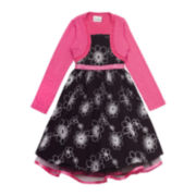 Rare Editions Cardigan and Floral Dress – Girls 7-16