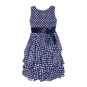 American Princess Polka Dot Cascade Dress – Girls 7-16 and Plus