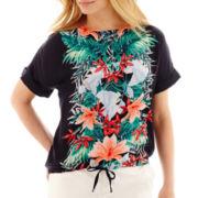 Liz Claiborne® Short-Sleeve Tie-Waist Print Blouse