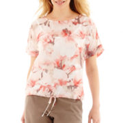 Liz Claiborne® Roll-Cuff Dolman-Sleeve Drawstring Top - Tall