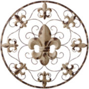 Distressed Ivory Fleur-de-Lis Wall Decor
