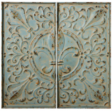 jcpenney.com | Distressed Blue Fleur-de-Lis Set of 2 Wall Decor Panels