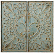 Distressed Blue Fleur-de-Lis Set of 2 Wall Decor Panels