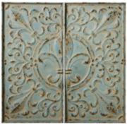 Distressed Blue Fleur-de-Lis Set of 2 Wall Decor Panels