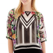 Bisou Bisou® Elbow-Sleeve Print Top