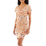 i jeans by Buffalo Cap-Sleeve V-Neck Ruched Dress