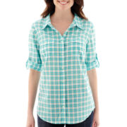 St. John's Bay® Elbow-Sleeve Roll-Tab Button-Front Shirt
