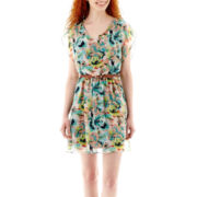 by&by Sleeveless Belted Print Blouson Dress