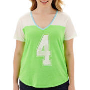 Arizona Raglan-Sleeve V-Neck Baseball T-Shirt - Plus