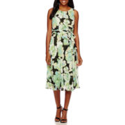 Evan-Picone Sleeveless Floral Chiffon A-Line Dress