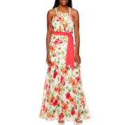 R&K Originals® Sleeveless Floral Chiffon Maxi Dress