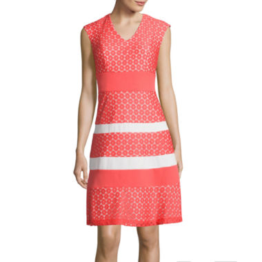 jcpenney.com | Studio 1® Sleeveless Striped Lace Fit-and-Flare Dress